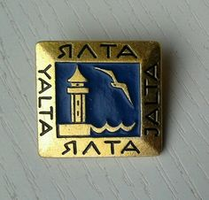 Tower and bird - Yalta, Black Sea resort in Crimea, Ukraine - Russian pin; VG