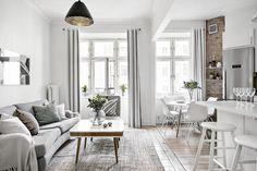 ideas apartment design grey small spaces for 2019 Apartment Interior, Apartment Design, Apartment Living, Kitchen Interior, Apartment Kitchen, Apartment Layout, Living Room Kitchen, Living Room Decor, Kitchen Design Open