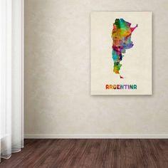 Trademark Fine Art Argentina Watercolor Map Canvas Art by Michael Tompsett, Size: 18 x 24, Multicolor