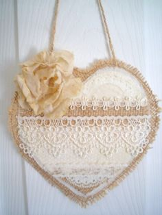 Shabby Chic Burlap and Lace Heart Rustic Hanger Ornament Large Gift Tag