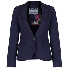 Women's Joules Olivia Jersey Blazer ($109) ❤ liked on Polyvore featuring outerwear, jackets, blazers, single button blazer, preppy jackets, blue jackets, blue jersey and single breasted jacket