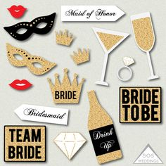 Bachelorette Photo Booth Signs, Bridal Shower Photobooth, Wedding Photobooth, Photobooth Props, Printable PDF, Instant Download, Gold Glitter  1