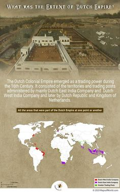 Dutch Empire - The Netherlands was formed by the loose federation of Seventeen Provinces in northwestern Europe. Its inhabitants are referred to as the Dutch.In this article, read about the origin of Dutch Empire and its decline. Dutch Empire, Dutch Republic, Ancient World History, East India Company, Dutch Colonial, 16th Century, All Over The World, Geography, Infographic