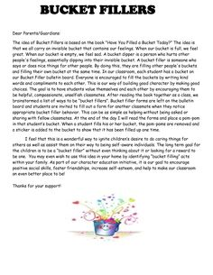 bucket filler letter to parents - Google Search