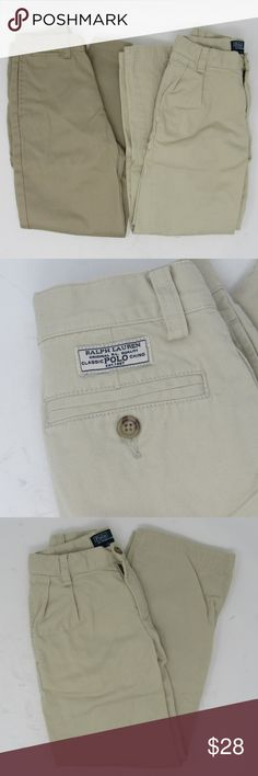 """Bundle Polo by Ralph Lauren khaki pants boys sz 6 100% cotton khaki slacks by Ralph Lauren.  The darker pair are flat front; two back, two front, one coin pocket. 21"""" waist; 7 1/2"""" front rise; 20 1/2"""" inseam; 28 1/2"""" overall length. The lighter pair have pleats; 2 front, 2 rear pockets. 21"""" waist; 7"""" front rise; 20"""" inseam; 28"""" overall length. They are both in lightly worn condition, intended as school clothes for my little one but he didn't wear them much. Worn and washed but in good shape…"""