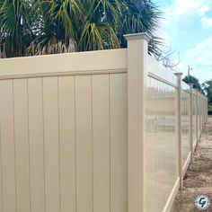 Vinyl install complete in khaki color. Trex Fencing, Vinyl Fencing, Front Fence, Fence Gates, Fences, Balcony Railing Design, White Fence, Fence Landscaping, Marco Island