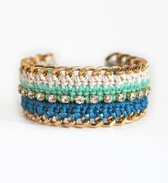 Bohemian bracelet with rhinestones and chunky chain, teal and turquoise ombre, crochet bracelet by LeiniJewelry
