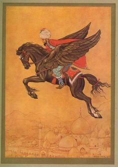 Anton Pieck was a Dutch painter and graphic artist. The work of Anton Pieck contains paintings in oil and watercolour, etchings. Anton Pieck, Winged Horse, Horse Fly, Dutch Painters, Fairytale Art, Graffiti, Dutch Artists, Arabian Nights, Orient