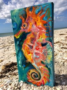 RedHotRed Seahorse on Etsy by ASliceofTheBeach on Etsy Seahorse Painting, Seahorse Art, Nautical Painting, Seahorses, Seahorse Outline, Seahorse Drawing, Sea Turtle Painting, Seahorse Tattoo, Painting Art