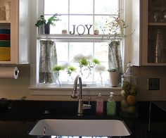 Trendy kitchen window over sink curtains cabinets Ideas Kitchen Window Treatments, Decor, Window Over Sink, Kitchen Window Shelves, Kitchen Remodel, Curtain Decor, Kitchen Sink Remodel, Cafe Curtains, Home Decor
