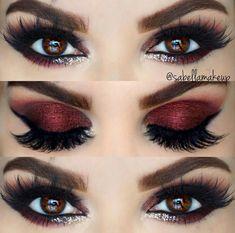 Velvet red smokey eye look