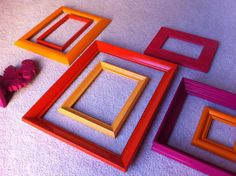 Vintage Frames, Open Frames, Pink, Tangerine,Fuschia, Funky Home Decor, Bright Frames, Upcycled