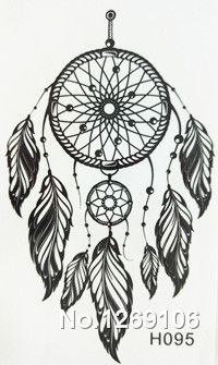2016 NEW 10x6cm Black  Fashion Tattoo Dreamcatcher Feather Waterproof Temporary Tattoo Stickers #clothing,#shoes,#jewelry,#women,#men,#hats,#watches,#belts,#fashion,#style