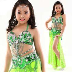 972438313b 8 colores Stage Performance Oriental Belly Dancing Clothes Niños Belly  Dance Costume para niñas 3 piezas