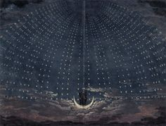 "Iconic historical stage designs for The Queen of the Night sequence from Mozart's ""Magic Flute"" - the first image by Karl Friedrich Schinkel in 1815, the second by Simon Quaglio in 1818 (x)"