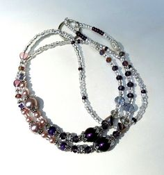 Lanyard In Amethyst/Purple Lavender Mix Pearls by AGrandIllusion
