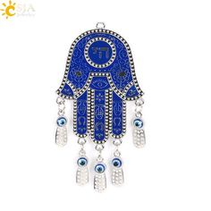 Fatima Hamsa Hand Pendants Turkey Blue Evil Eye Beads Chai Wall Home Hanging Decoration Protection Blessing Amulet