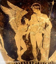 Paris & Himerus, god of desire | Greek vase, Athenian red figure amphora