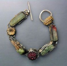 Bracelet by Temi Kucinski Sterling silver with gold coating, raw tourmaline crystals, and ruby gem ball. Metal Jewelry, Boho Jewelry, Jewelry Crafts, Jewelry Art, Beaded Jewelry, Silver Jewelry, Handmade Jewelry, Jewelry Design, Jewelry Accessories