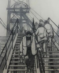 Norman Cornish - Pit gantry is available for sale at Castlegate House Gallery. Norman Cornish, Industrial Artwork, Bd Art, Bridge Painting, Building Drawing, Life Paint, A Level Art, Inspirational Artwork, Gcse Art
