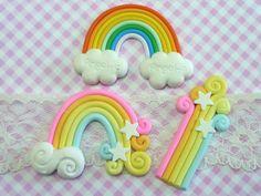 3 pcs Rainbow Cabochons, Rainbow Decoden, Kawaii Deco Cabochon by forestdiy on Etsy
