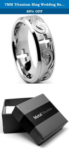 7MM Titanium Ring Wedding Band With Cross Cut Out and Engraved Floral Design Size 6. This Stunning Cross Cut out Titanium ring is 7MM in width and comfort fit. It is matte finish with engraved Floral Design. Our rings are hypoallergenic. All rings come with a 100% money back guarantee and a FREE ring box.