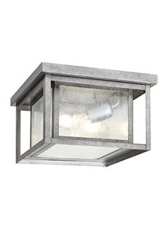 Sea Gull Lighting 7802757 Outdoor Flush Mount with Clear SeededGlass Shades Weathered Pewter Finish -- Want to know more, click on the image. (Note:Amazon affiliate link)