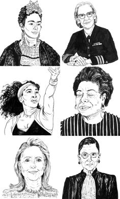 Famous Ladies Illustrations by Alexandra Beguez   illustrated women   portraits of women   illustrated ladies   pen and ink portraits