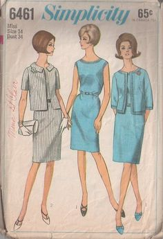 MOMSPatterns Vintage Sewing Patterns - Simplicity 6461 Vintage 60's Sewing Pattern CLASSIC Simple Jackie O Sleeveless Day Dress, Collared Clutch Suit Jacket