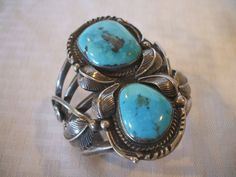 Huge Signed DELGARITO Vintage NAVAJO Sterling Silver & Turquoise Cuff BRACELET