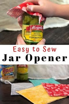 Sometimes you need a little extra traction to open a tight-fitting lid on a jar. This jar opener easy sewing project is the solution. Check the jar opener free sewing tutorial here. Sewing Hacks, Sewing Tutorials, Sewing Tips, Sewing Ideas, Sewing Crafts, Tutorial Sewing, Dress Tutorials, Sewing Basics, Sewing Blogs