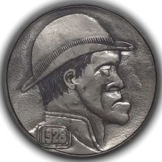 GEDIMINAS PALSIS HOBO NICKEL - FAT LIP HOBO - 1928 BUFFALO PROFILE Hobo Nickel, Big Lips, Old Coins, Buffalo, Folk Art, Fat, Carving, Train, Coins