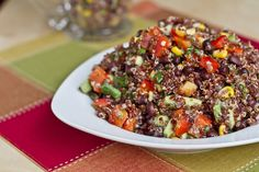 Red Quinoa and Black Bean Vegetable Salad - this looks like a gorgeous summer salad, I think it will be perfect for a BBQ this weekend!