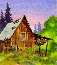 houses, watercolor paintings, schools, painting art, colors, cabins, art lessonswatercolor, homesteads, watercolor tutorials