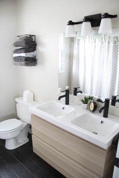 Affordable Modern Bathroom Reveal, Black and White Modern Bathroom, Ikea Vanity www.BrightGreenDoor.com