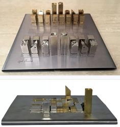 Modernist minimalist chess set by Gad Ahmalinh Auction Projects, Metal Projects, Welding Projects, Metal Crafts, Woodworking Projects, Chess Pieces, Game Pieces, Wood Router, Wood Lathe