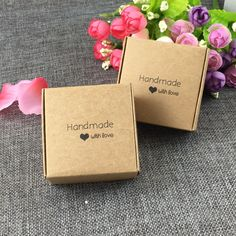 """50PCS 6.5x6.5x3cm kraft  fashion printing """"Handmade with love"""" Gift boxes Paper Jewelry Boxes display case accept custom logo"""