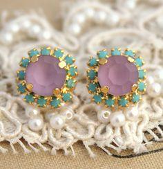 Stud earrings Turquoise Purple Crystal -14 k plated gold post earrings real swarovski rhinestones. on Etsy, $31.00