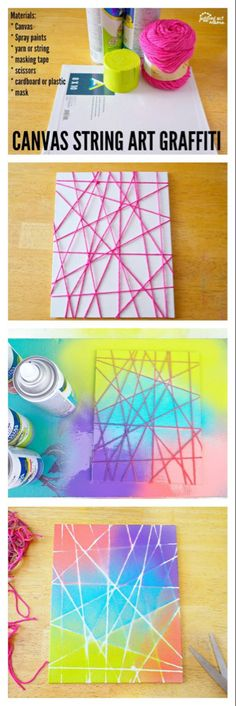 Art Ideas: Canvas Graffiti This Canvas String Art Graffiti project is fun for kids and adults alike.This Canvas String Art Graffiti project is fun for kids and adults alike. Diy Crafts For Teen Girls, Diy Crafts For Adults, Art Projects For Adults, Easy Art Projects, Crafts To Make And Sell, Adult Crafts, Project Ideas, Kids Diy, Teen Arts And Crafts