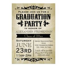 Free typography style college graduation invitation indesign vintage graduation party invitation stopboris Choice Image