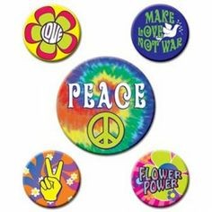 60's Party Badges -  60's Hippie Party Decorations