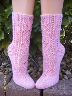 The Lady of Lorien pattern by Adrienne Fong Crochet Socks, Knitting Socks, Knitting Stitches, Crochet Yarn, Hand Knitting, Knitting Patterns, Knit Socks, Bed Socks, Knit Stockings