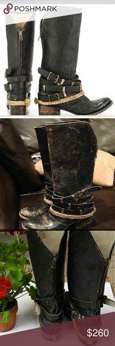 """Freebird """"Drove"""" boots Distressed rugged leather mid-calf boot Western inspired Braided rope detailing Wrap around buckle straps. Leather insole/outer sole. Back zipper. 12 inch shaft. 1 1/2 inch heel height. Freebird Shoes Heeled Boots"""