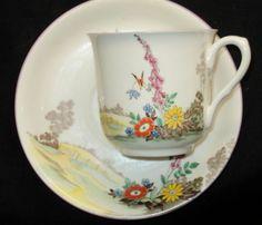 SHELLEY VINCENT FOXGLOVE PURPLE TRIM TEA CUP AND SAUCER