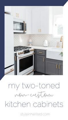 This coastal-inspired kitchen features a large farmhouse sink, a gold faucet, gold cabinet handles and pulls, white upper cabinets and grey lower cabinets, Cafe Appliances with bronze hardware, and a stunning scallop tile backsplash. Learn more about this gorgeous kitchen and get the full details on cabinet color at styleinherited.com! #coastalkitchen #kitcheninspiration #goldandwhitekitchen