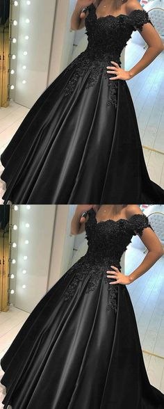 Black Lace Flower Off The Shoulder Satin Prom Dresses Ball Gowns Wedding Dress For Bridal Party