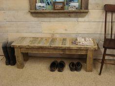 """Driftwood Strip Bench (50"""" x 15"""" x 17""""H). $289.00, via Etsy."""