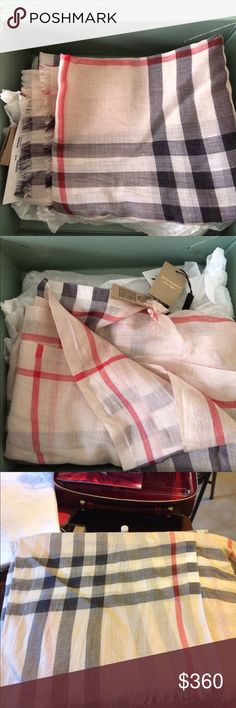 Burberry wool and silk scarf NWT  220*70cm  51%wool  49% silk Beige Burberry Accessories Scarves & Wraps