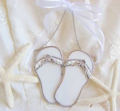 Bride Flip Flops with Little Pearls and by BeachCottageBoutique, $32.50