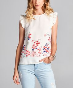 White Floral Cap-Sleeve Top